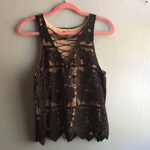 Black lace Express top